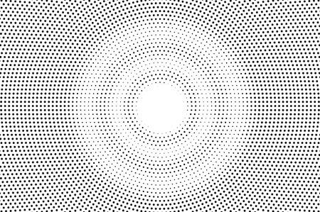 Texture demi-teinte délavée noir sur blanc. Dégradé de points ronds. Fond de vecteur rond. Superposition de demi-teintes monochromes pour un effet cartoon vintage. Carte rétro perforée. Surface de dotwork abstrait