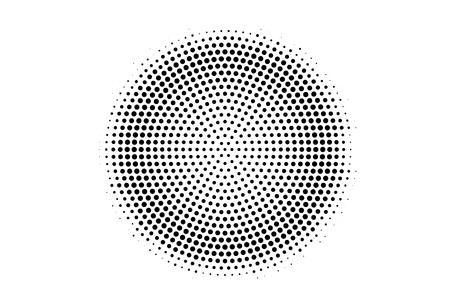 Black on white round halftone texture. Centered dotwork gradient. Halftone vector background. Monochrome halftone overlay for vintage cartoon effect. Perforated retro card. Abstract dotwork surface