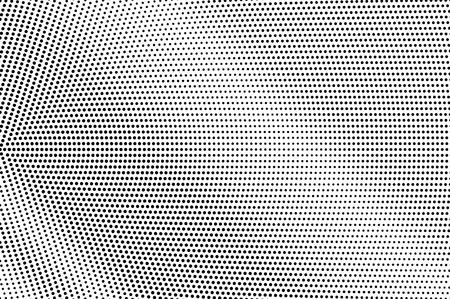 Texture de demi-teinte micro noir sur blanc. Dégradé de points lisse. Fond de vecteur en pointillé. Superposition de demi-teintes monochromes pour un effet de dessin animé vintage. Carte rétro perforée. Surface de dotwork abstrait