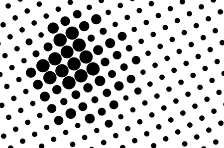 Black on white abstract halftone texture. Oversized dotted ornament. Contrast dotwork surface for vintage effect. Monochrome halftone vector overlay. Perforated retro background. Ink dot texture card