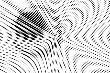 Black on white halftone vector texture. Digital optical illusion. Contrast dotwork gradient for vintage effect. Monochrome halftone overlay. Perforated retro background. Ink dot texture card