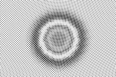 Black on white grunge halftone vector. Grungy dotted texture. Concentrated dotwork gradient. Monochrome halftone overlay for cartoon effect. Perforated background in retro style. Ink dotwork surface Векторная Иллюстрация