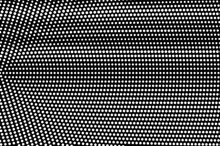 White dots on black background. Frequent halftone vector texture. Radial dotwork gradient. Monochrome halftone overlay for vintage effect. Dark perforated surface. Pop art style dot texture card Illustration