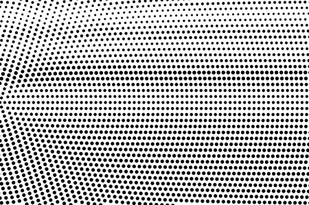 Black on white grunge halftone vector. Digital dotted texture. Radial dotwork gradient. Monochrome halftone overlay for cartoon effect. Perforated background in retro style. Ink dotwork surface