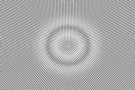 Black on white grunge halftone vector. Digital dotted texture. Round dotwork gradient. Monochrome halftone overlay for cartoon effect. Perforated background in retro style. Ink dotwork surface Illustration