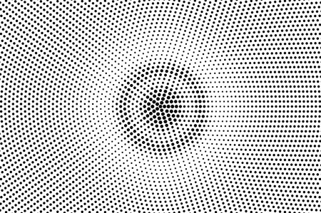 Black on white grunge halftone vector. Digital dotted texture. Circular dotwork gradient. Monochrome halftone overlay for cartoon effect. Perforated background in retro style. Ink dotwork surface
