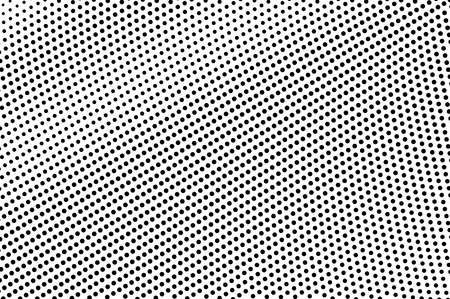 Black on white halftone vector. Radial dotted texture. Distressed dotwork gradient. Monochrome halftone overlay for cartoon effect. Perforated background in retro style. Abstract dotwork surface Ilustrace