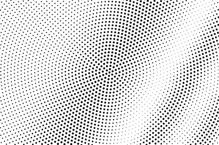 Black on white halftone vector. Diagonal dotted texture. Centered dotwork gradient. Monochrome halftone overlay for cartoon effect. Perforated background in retro style. Abstract dotwork surface