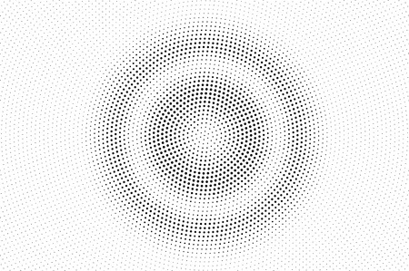 Black on white halftone vector. Circular dotted texture. Small dotwork gradient. Monochrome halftone overlay for cartoon effect. Perforated background in retro style. Abstract dotwork surface
