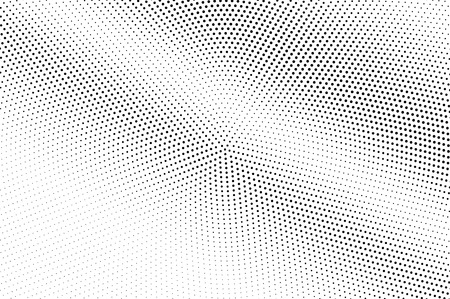 Black on white halftone vector. Circular dotted texture. Diagonal dotwork gradient. Monochrome halftone overlay for cartoon effect. Perforated background in retro style. Abstract dotwork surface Illustration