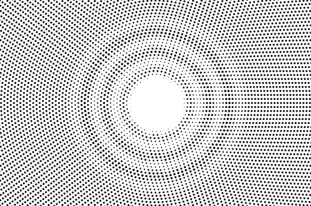 Black on white centered halftone texture. Round dotwork gradient. Dotted vector background. Monochrome halftone overlay for vintage cartoon effect. Perforated retro card. Abstract dotwork surface