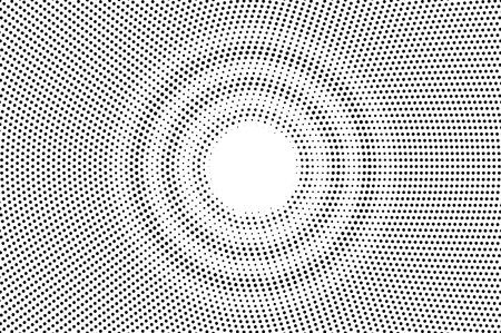 Texture demi-teinte centrée noir sur blanc. Dégradé de points ronds. Fond de vecteur en pointillé. Superposition de demi-teintes monochromes pour un effet de dessin animé vintage. Carte rétro perforée. Surface de dotwork abstrait