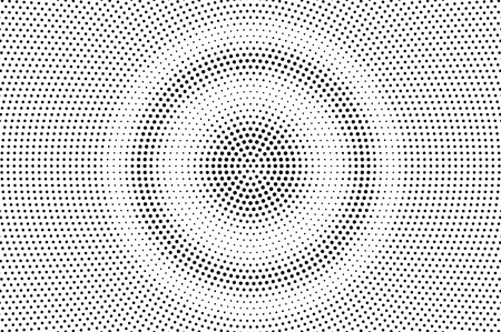 Black on white round halftone texture. Grungy dotwork gradient. Distressed dotted vector background. Monochrome halftone overlay. Vintage cartoon effect. Perforated texture. Retro dotwork surface