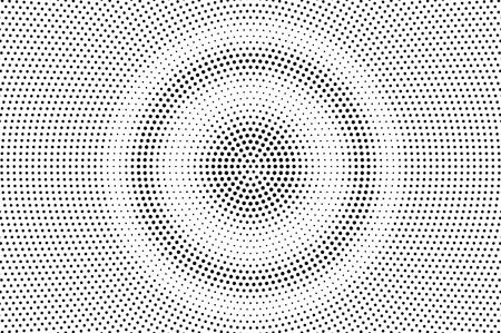 Texture demi-teinte ronde noire sur blanc. Dégradé de points grungy. Fond de vecteur en pointillé en détresse. Superposition de demi-teintes monochromes. Effet de bande dessinée vintage. Texture perforée. Surface de points rétro