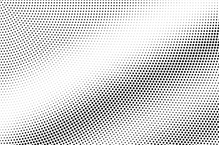 Schwarz auf weißer Mikrohalbtonbeschaffenheit. Diagonale Dotwork-Steigung. Rauer gepunkteter Vektorhintergrund. Monochrome Halbtonüberlagerung. Vintage-Cartoon-Effekt. Perforierte Textur. Retro-Dotwork-Oberfläche Vektorgrafik