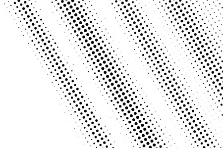Black on white noisy halftone texture. Diagonal dotwork gradient. Distressed dotted vector background. Monochrome halftone overlay. Vintage cartoon effect. Perforated texture. Retro dotwork surface