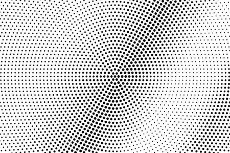 Black and white dotted halftone with diagonal gradient. Circular vector texture. Vintage effect graphic decor. Retro dotted overlay. Monochrome halftone background or foreground. Perforated surface Illustration