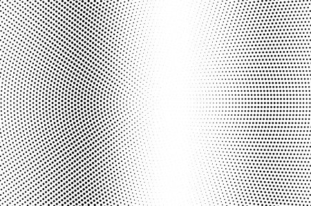 Black and white halftone vector. Vertical dotted gradient. Pale vintage texture. Retro style overlay with ink dot ornament. Monochrome halftone background. Perforated surface for cartoon design