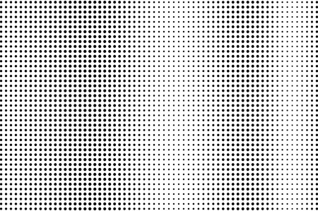 Black and white halftone vector. Vertical dotted gradient. Sparse vintage texture. Retro style overlay with ink dot ornament. Monochrome halftone background. Perforated surface for cartoon design
