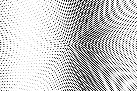 Black and white halftone vector. Vertical dotted gradient. Faded circular texture. Retro style overlay with ink dot ornament. Monochrome halftone background. Perforated surface for cartoon design