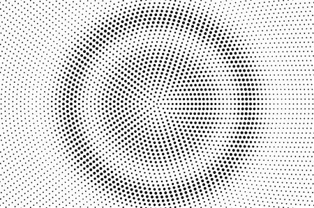Black and white halftone vector. Round dotted gradient. Concentrated rough dotwork surface. Vintage overlay textured with ink dots. Monochrome halftone background. Perforated texture for retro graphic