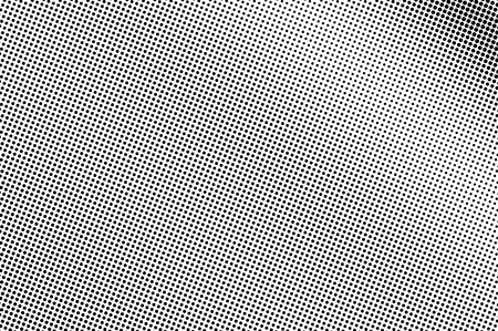 Black and white halftone vector. Diagonal dotted gradient. Smooth dotwork surface. Vintage overlay textured with ink dots. Monochrome halftone background. Perforated texture for retro graphic