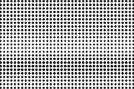 Black and white halftone vector texture. Horizontal dotted gradient. Smooth dotwork surface. Vintage effect overlay textured with ink dots. Monochrome halftone background. Perforated retro graphic