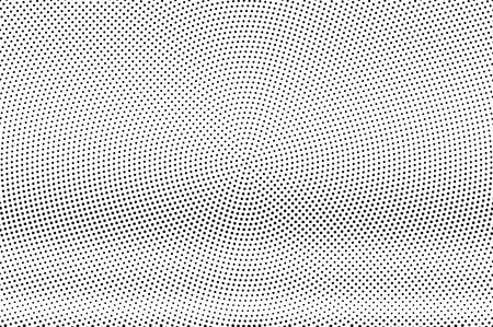 Black and white halftone vector texture. Horizontal dotted gradient. Small dotwork surface. Vintage effect overlay textured with ink dots. Monochrome halftone background. Perforated retro graphic