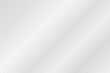 Black and white halftone vector texture. Diagonal dotted gradient. Faded dotwork surface for vintage effect. Monochrome halftone background or overlay. Perforated retro design. Ink dot texture card