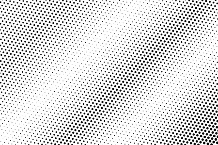 Diagonal dotted gradient. Contrast dotwork surface for vintage effect. Monochrome halftone background or overlay. Perforated retro design. Ink dot texture card