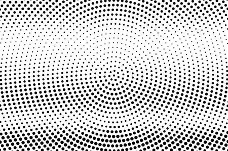 Black and white halftone vector texture. Grunge dotted gradient. Circular dotwork surface for vintage effect. Monochrome halftone overlay. Perforated retro background. Ink dot texture card