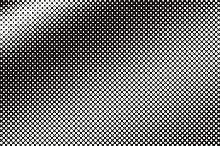 Blanc sur la texture de vecteur de demi-teinte noir. Dégradé en pointillé en diagonale. Surface de points fréquents pour un effet vintage. Superposition de demi-teintes monochromes. Fond rétro perforé. Carte de texture de point d'encre