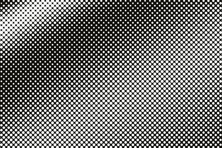 White on black halftone vector texture. Diagonal dotted gradient. Frequent dotwork surface for vintage effect. Monochrome halftone overlay. Perforated retro background. Ink dot texture card