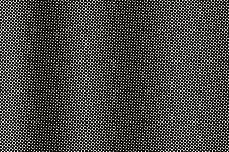 White dot on black halftone vector Frequent dotwork surface for vintage effect. Monochrome halftone overlay. Perforated retro background. Ink dot texture card