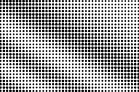 Black on white halftone vector texture. Rough perforated surface. Diagonal dotwork gradient for vintage effect. Digital pop art background. Monochrome halftone overlay. Black ink dot texture card