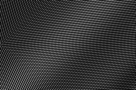 White dots on black background. Radial halftone vector texture. Subtle dotwork gradient. Monochrome halftone overlay for vintage effect. Perforated surface. Pop art style dot texture card