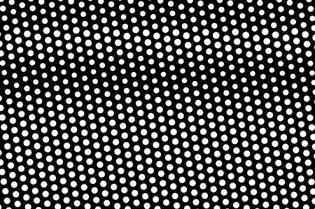White dots on black background. Oversized halftone vector texture. Horizontal dotwork gradient. Monochrome halftone overlay for vintage design. Perforated surface. Pop art style dot texture card