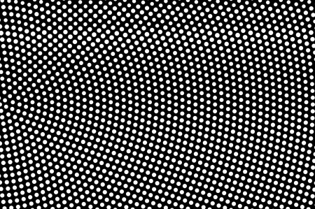 White dots on black background. Frequent radial halftone vector texture. Horizontal dotwork gradient. Monochrome halftone overlay for vintage design. Perforated surface. Pop art style dot texture card