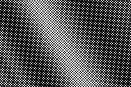 White dots on black background. Frequent bright halftone vector texture. Diagonal dotwork gradient. Monochrome halftone overlay for vintage design. Perforated surface. Pop art style dot texture card