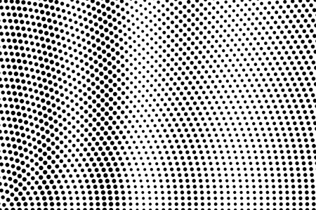 Black on white halftone vector texture. Rough perforated surface. Oversized dotwork gradient. Digital pop art background. Monochrome halftone overlay for vintage effect. Black ink dot cartoon texture Illustration