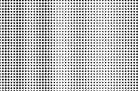 Black on white halftone vector texture. Subtle perforated surface. Vertical dotwork gradient. Digital pop art background. Monochrome halftone overlay for vintage effect. Black ink dot cartoon texture