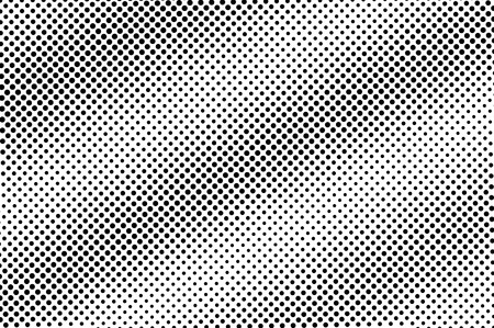 Black on white halftone vector texture. Sparse perforated surface. Diagonal dotwork gradient. Digital pop art background. Monochrome halftone overlay for vintage effect. Black ink dot cartoon texture