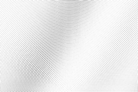 Black dots on white background. Pale perforated surface. Micro halftone vector texture. Diagonal dotwork gradient. Monochrome halftone overlay for vintage design. Pop art style dot texture card