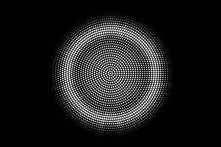 White dots on black background. Centered halftone vector texture. Round dark dotwork gradient. Monochrome halftone overlay for vintage design. Perforated surface. Pop art style dot texture card