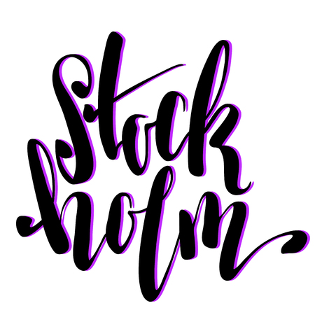 Stockholm city name handwritten lettering. Sweden capital city calligraphic vector sign on white background. Vacation destination tourist tag. Modern geographic lettering. Stockholm inscription label Illustration