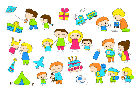 Traditional family scene vector illustration on white background. Happy children and parents coloring page. Mothers and fathers outlined clipart. Black line cartoon characters. Family childish doodles