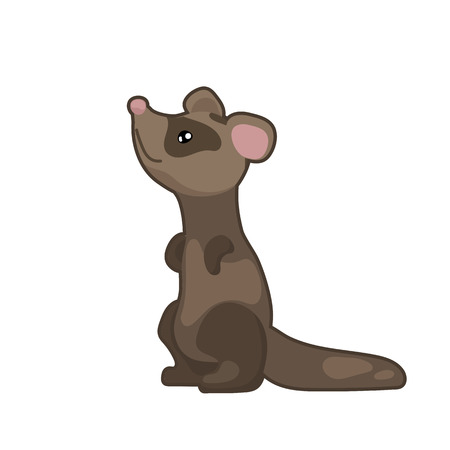 Cute ferret vector illustration on white background. Woodland animal icon. Sneaky ferret clipart.