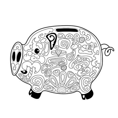 Cute pig money saving box with chinese style ornament for coloring. Chinese New Year Pig vector illustration on white background. Pig saver box coloring page. Oriental prosperity symbol on outline pig Ilustração
