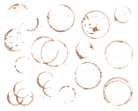 Brown coffee cup circle on white background. Black coffee vector element. Wet cup stain and splatter. Cafe menu decor. Wet circle on table. Coffee texture. Cafe table surface. Coffee or cacao cup dirt