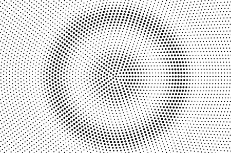 Black and white halftone vector background. Circular dot gradient. Rough dotwork surface. Round dotted halftone. Retro halftone overlay. Vintage distressed effect. Monochrome perforated texture Illustration